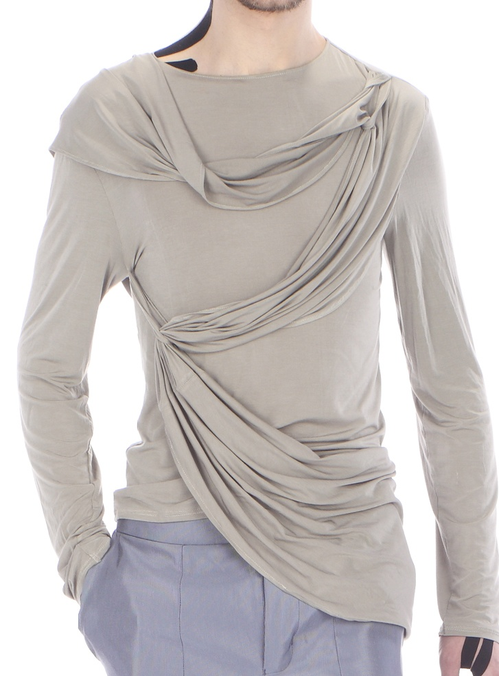 Detail: long - sleeved draped top ( silk jersey)