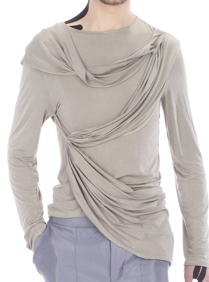 Detail: long - sleeved draped top ( silk jersey)