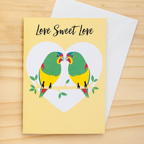 Swift Parrot Love card by Earth Greetings #valentine #valentinesdaycards #loveheart #valentines2016 #swiftparrot
