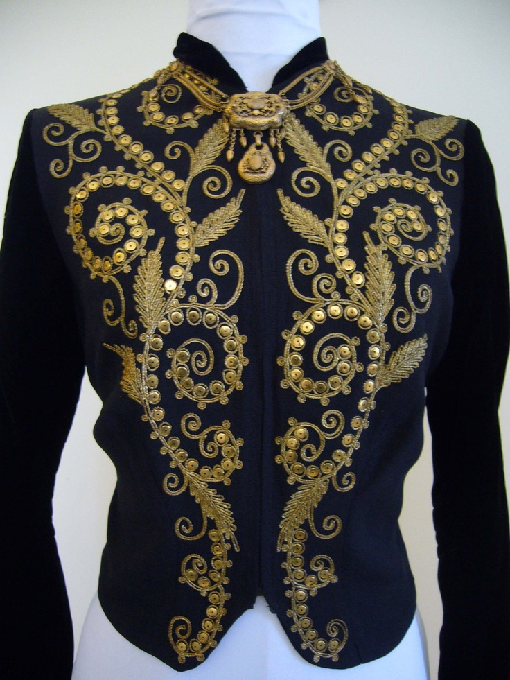 AMAZING Deco 1940s Ornate Heavily Embroidered Jacket Blouse Crepe Silk Velvet Top - Film Noir Marlene Dietrich Couture Metal Detailing