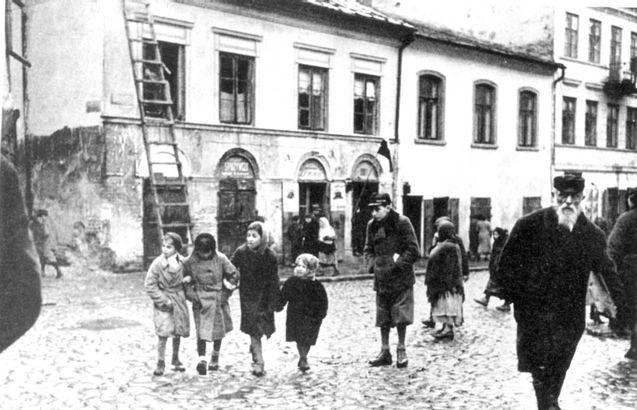 Lublin, Poland, A Jewish ghetto street scene.