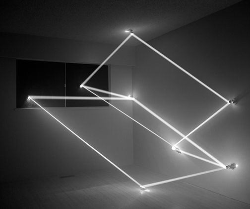 A photograph from a series of geometric light sculptures. Trace Heavens by James Nizam.