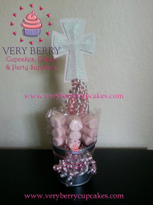 6 Girl Baptism with Marshmallow Pops Centerpieces by VeryberryParty on Etsy