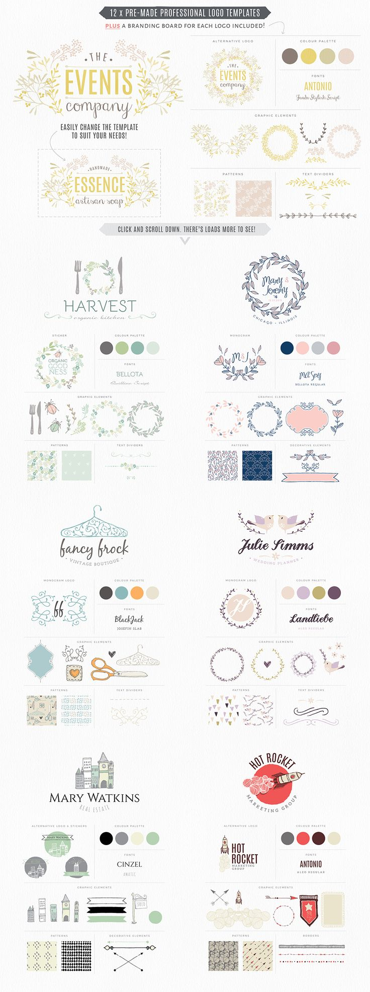 With over 300 elements including 12 pre-made logo templates PLUS a matching brand board for each logo this kit will kick-start your brand design into action and save loads of time in the process!