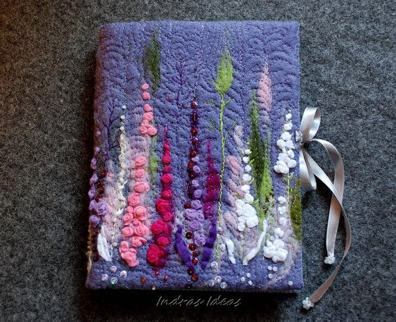 Felt cover. Eglantine flower book, journal, notebook felt cover.