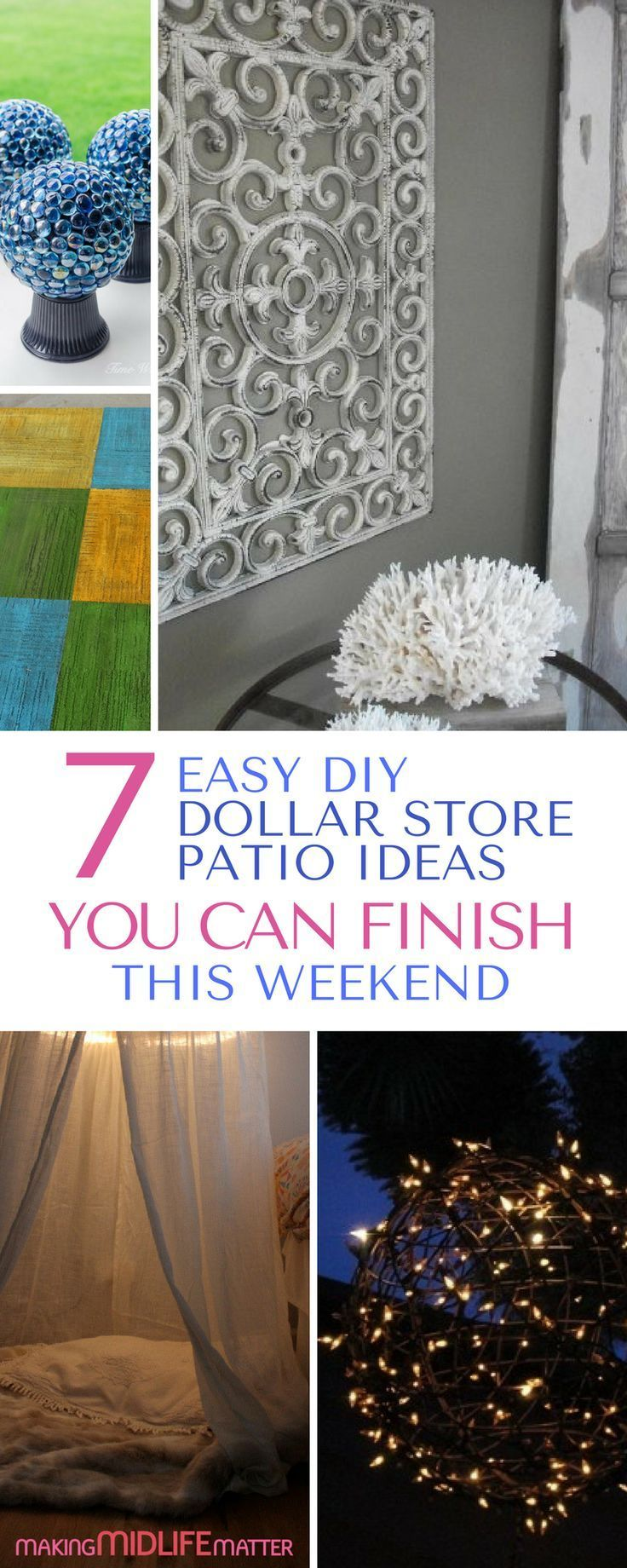 These 7 dollar store patio ideas will make your backyard a summer oasis. Get them all done in one weekend on budget. Be frugal with style and start to enjoy the warmer weather outdoors now. via @makingmidlife