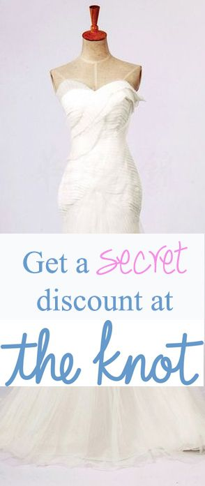 How to get a discount at the Knot Wedding Shop. BEST pin ever if you're planning a wedding!!!
