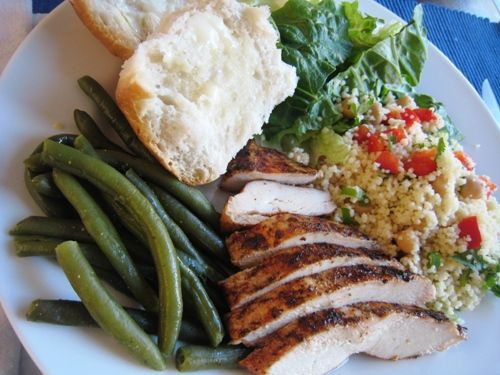 This (grilled chicken dinner couscous green beans) and all the other ideas for dinner on this weekly meal plan sound amazing.