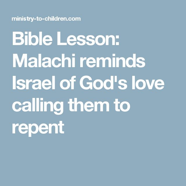 bible lesson on malachi for children