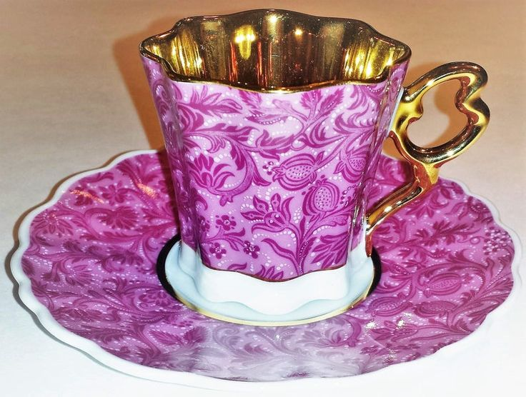Demi Tasse Teacup and Saucer Set – Pink Floral Pattern
