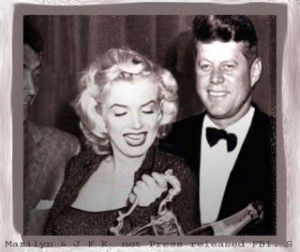 LIE: Marilyn & JFK. TRUTH: Photoshopped, fake photo. There is only *one* photo with Marilyn and JFK together, found elsewhere on this board, taken at his birthday celebration and it includes Bobby Kennedy. It's not even a good photo of the 3 of them to be honest. So ANY photo, other than that one, is FAKE.