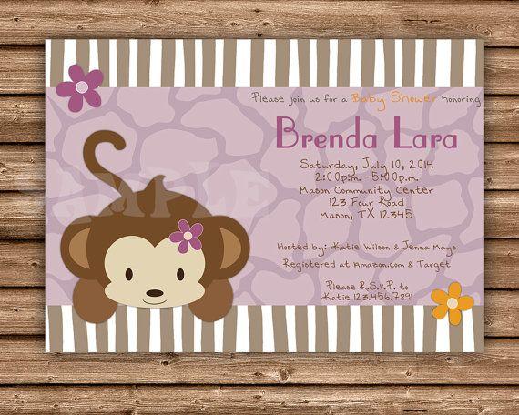 Baby Shower Girl Monkey Invitations ~ Best baby shower ideas images monkey baby