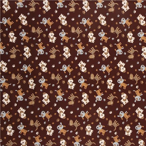 brown Timeless Treasures animal fabric stitched dogs 2