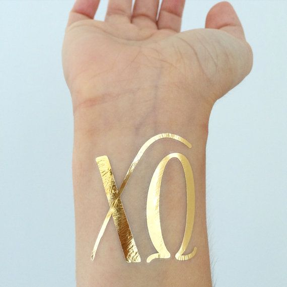Shiny gold metallic tattoos for Chi Omega sisters! Get one for all your girls! TO ORDER: * Leave the first quantity menu at 1. * Select the number of