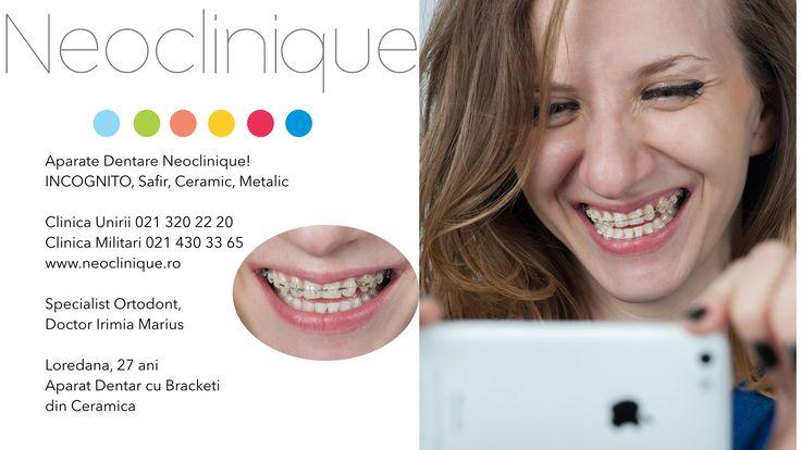 Aparat #Dentar cu #Bracketi din #Ceramica #Neoclinique Doctor Irimia Marius, Specialist #Ortodont Clinica Unirii +40213202220 Clinica Militari +40214303365