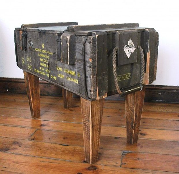 Ammo crate table. Would look cool in any man cave.