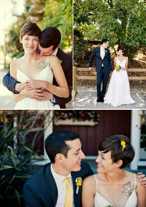 "~ 31 Brides with Pixie Cuts ~ THIS is the kind of bride I want to be :"") it's feminine, unique, artsy, bold yet fragile."