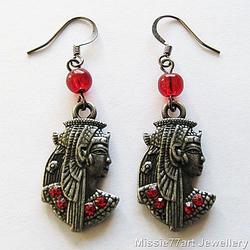 Egyptian goddess Nekhbet Mut silver plate red rhinestone earrings, also available without the red beads from Missie77art Jewellery ebay.