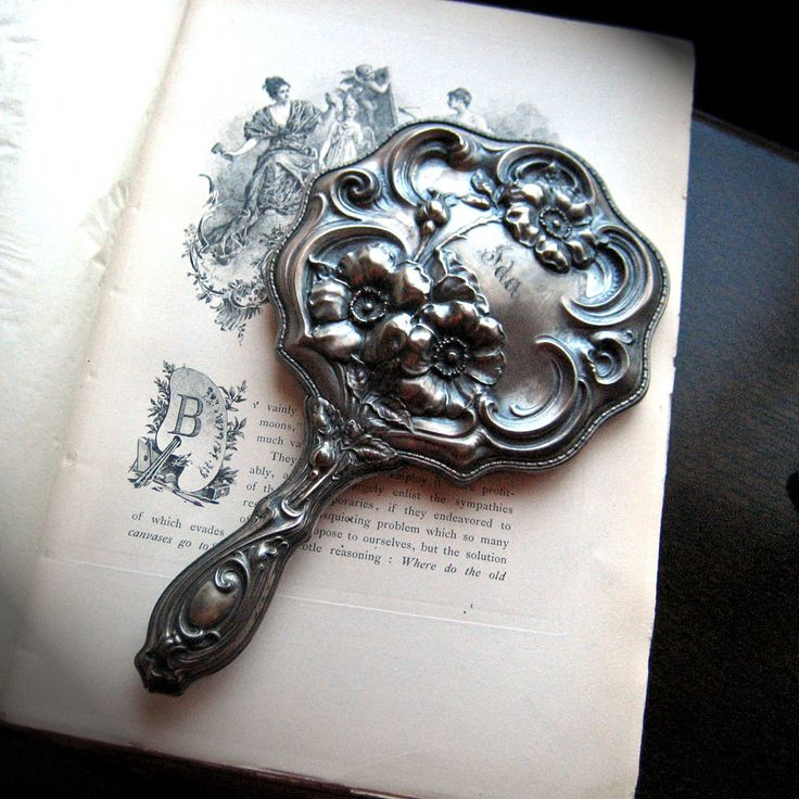 ART NOUVEAU Repousse Silver Hand Mirror Empire Art Antique Vanity Accessory Floral Design 1890s: Vintage Mirror, Art Nouveau, Things Silverware, Silver Hands, Antiques Vanities, Hands Mirror, Art Antiques, Vanities Mirror, Empire Art