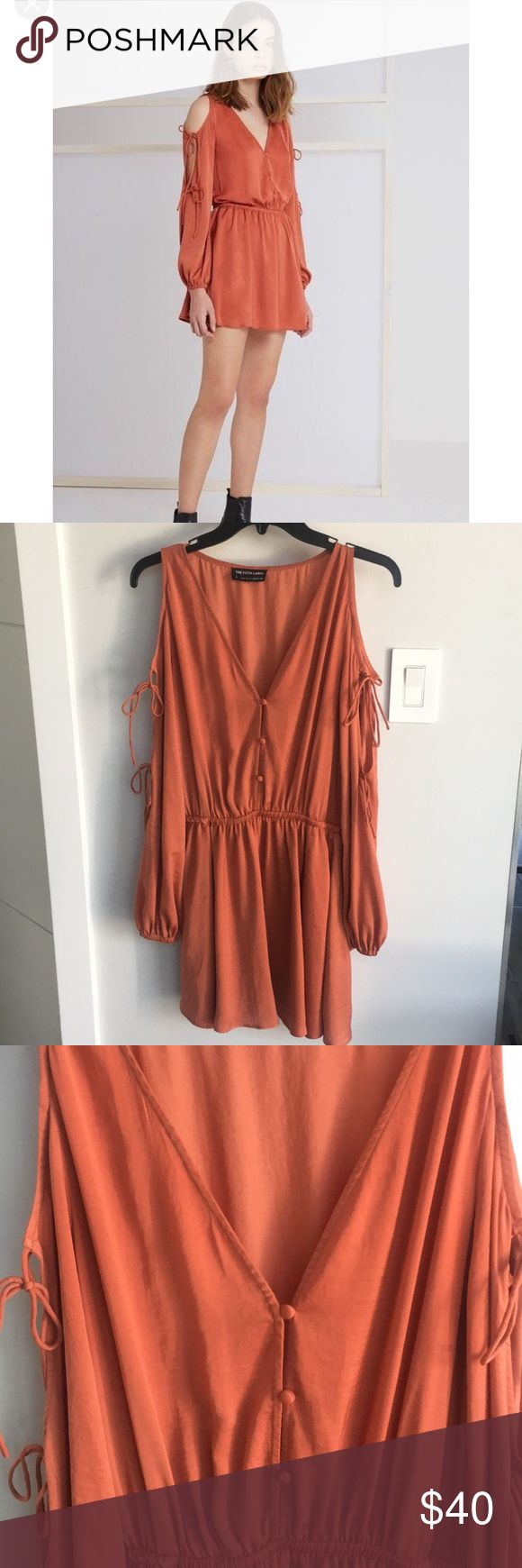 The Fifth Label Emergent Dress -Relaxed fit  -Elastic waist  -Rouleau loops and buttons down front bodice  -Full skirt  -Balloon style sleeve with split and rouleau ties  -Lightweight silky woven fabric Only worn once. The Fifth Label Dresses Mini