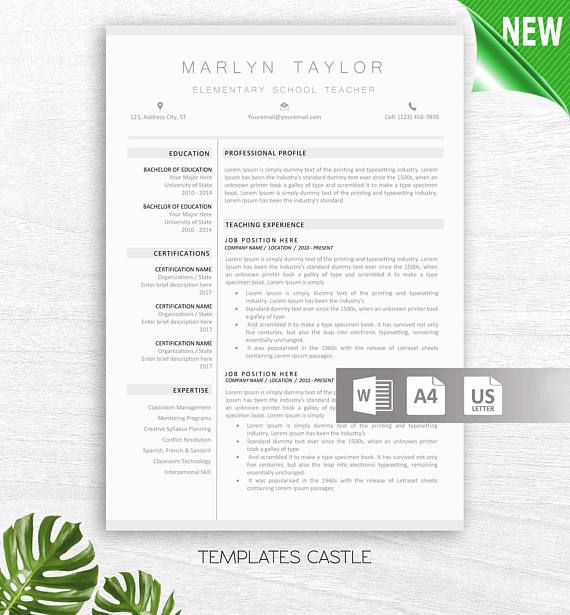 Teacher Resume Template for Word 2 Page Educator Resume