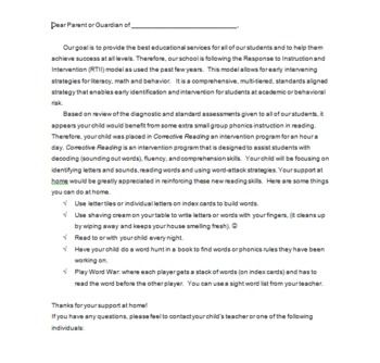 Response To Intervention Parent Letters 1st Grade