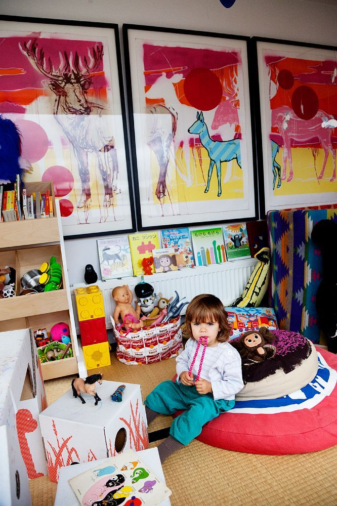 Oversized artwork in this vibrant playroom (Misha Hollebach, Shauna Toohey & Odi's home via The Selby)