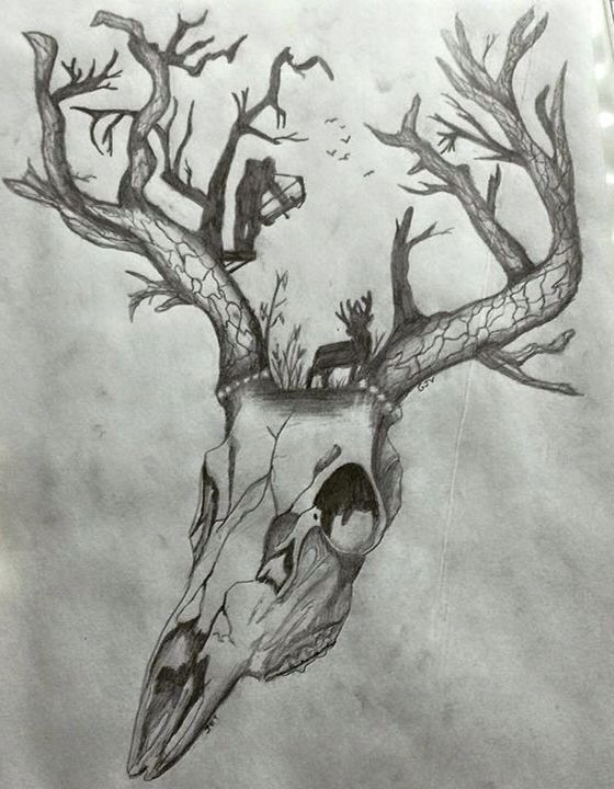 awesome tattoo. Deer Skull/Tree Antlers/Bow Hunting Scene! | Tattoos ...                                                                                                                                                     More