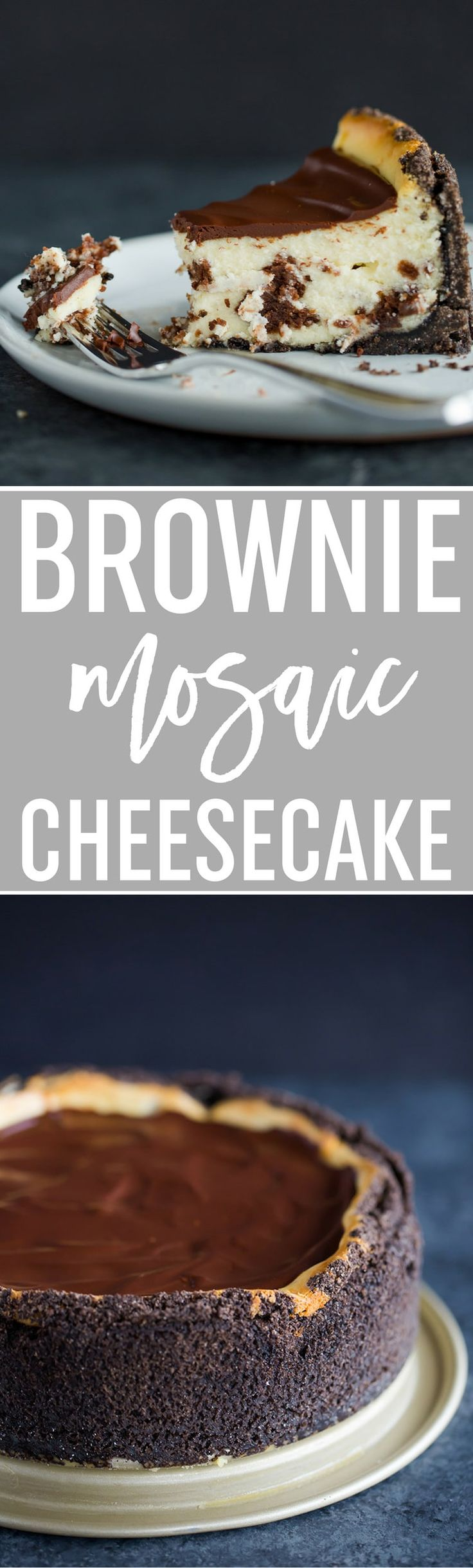 Brownie Mosaic Cheesecake :: A luscious cheesecake with cubes of brownies baked right inside, with an Oreo crumb crust and chocolate ganache topping. ~ via @browneyedbaker