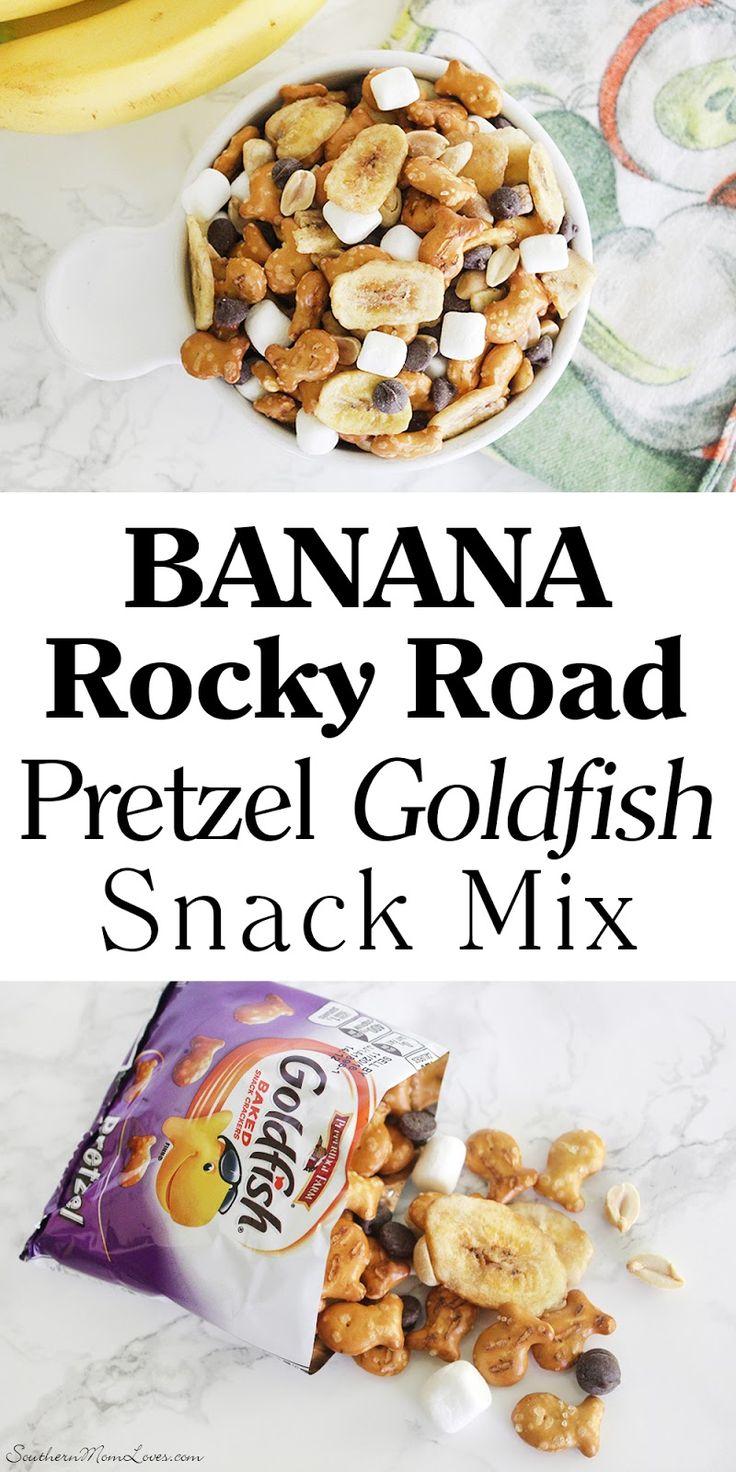 Banana Rocky Road Pretzel Goldfish Snack Mix Recipe! # ...