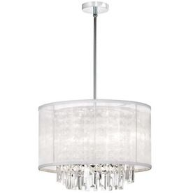 Dainolite Lighting Organza Bling 17-in W Polished Chrome Crystal Accent Pendant Light with Fabric Shade