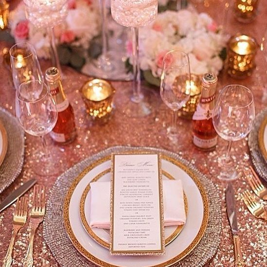 Blush Sparkle - Beautiful blush sequined linens paired with gold filigree china, gold crown cutlery, Riedel glassware, and diamante chargers.  Designed by Debut Event Design and photographed by Union Photographers.