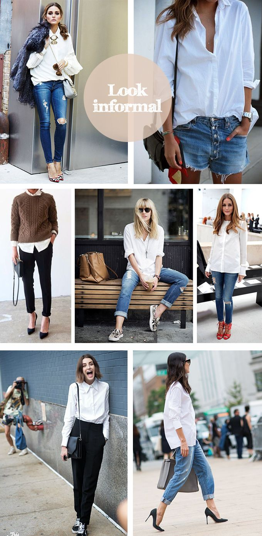 camisa blanca informal