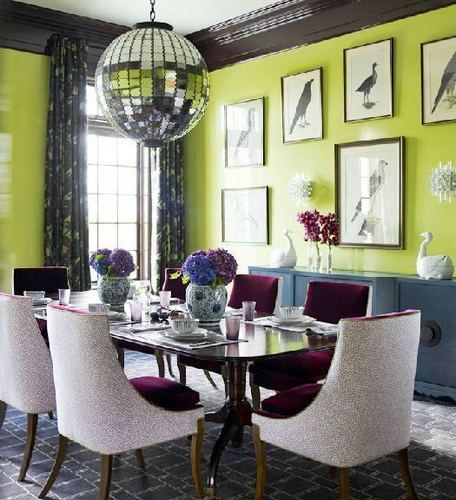 Katie ridder cococozy dining room apple green lacquer glossy walls bird paintings needs a - Pale green dining room ...