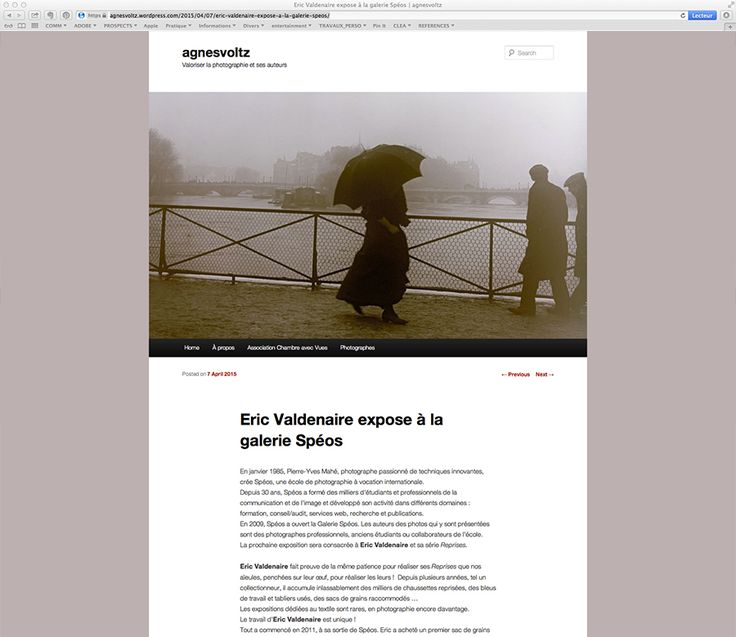 """Extract of the article written in French by Agnès Voltz on her blog dated April 7th, 2015 about the exhibition """"Reprises"""" at the SPEOS Gallery"""
