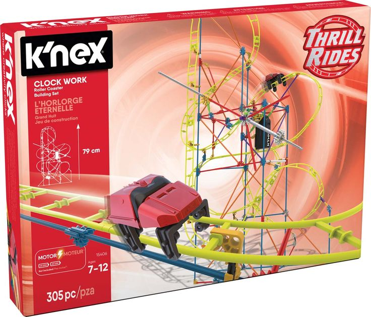 Tick, Tock goes the coaster car on the Clock Work Roller Coaster Building Set, from K'NEX.