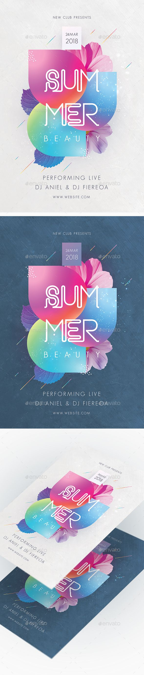 Summer Beauty Party Flyer #beach #event  • Download here → https://graphicriver.net/item/summer-beauty-party-flyer/21326472?ref=pxcr