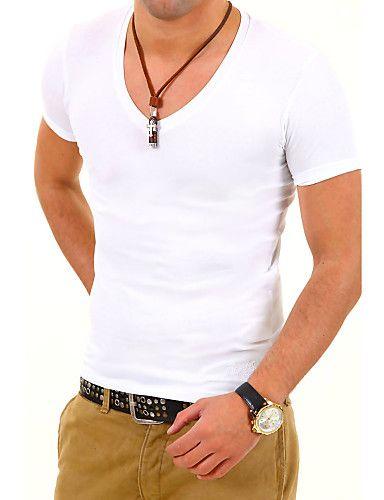Tee-shirt Hommes,Couleur Pleine Décontracté / Quotidien Travail Habillées Sportif Grandes Tailles Manches Courtes Coton Polyester de 4123260 2017 à $13.89