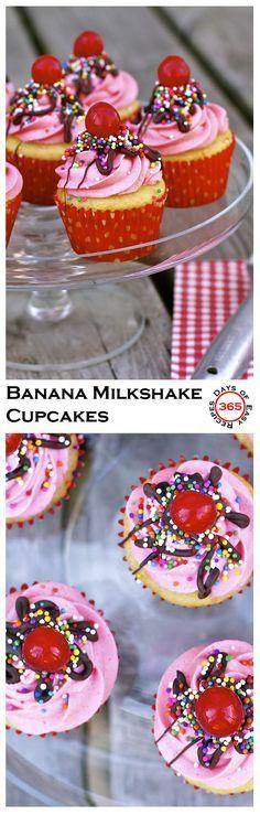 Perfectly sweet Banana Milkshake Cupcakes | 365 Days of Easy Recipes