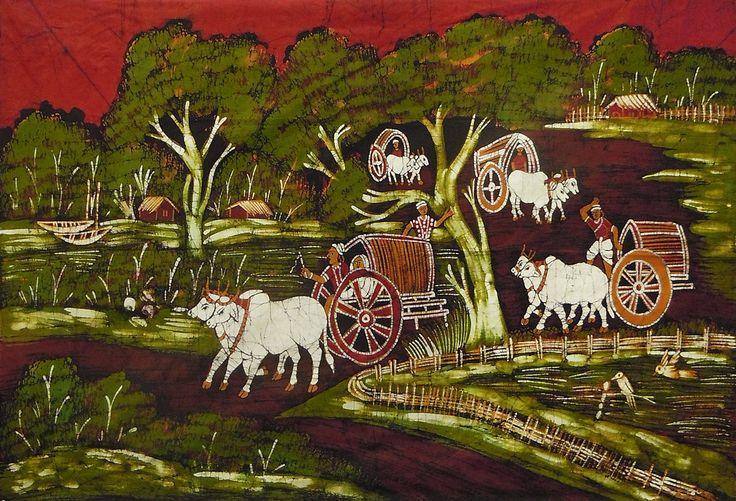 Bullock Carts on a Village Path (Batik Painting on Cotton Cloth - Unframed)
