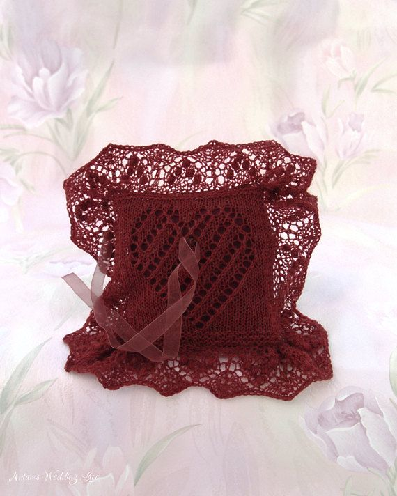 Hand-knitted elegant ring bearer pillow, inspired by Estonian lace knitting. It will be a beautiful pillow for your wedding rings in that special moment. By Artanis Wedding Lace