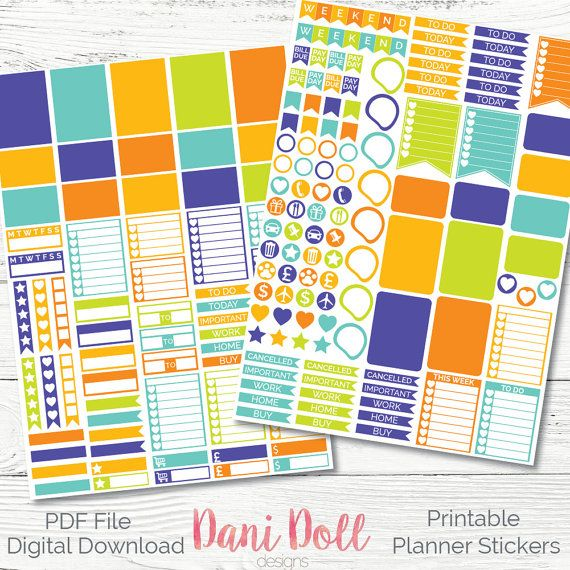 Spring Fling Weekly Planner Stickers Bright Colorful 2 Sheets PDF Instant Download Erin Condren Mambi Printable by danidolldesignsx