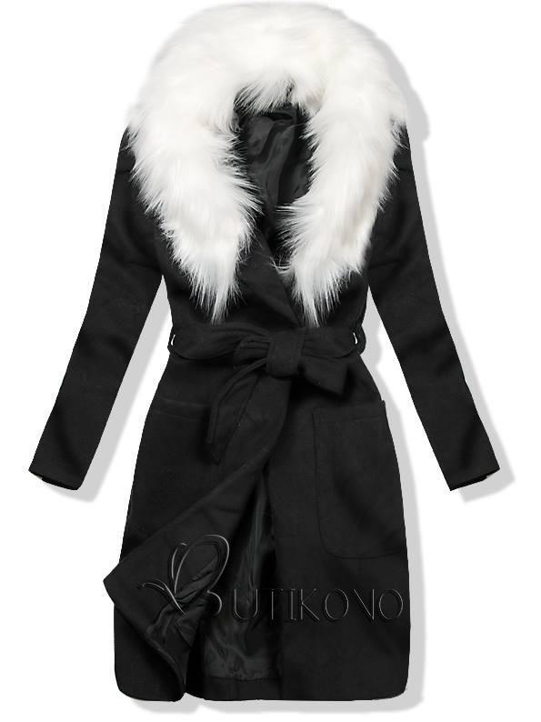 Čierny jesenný kabát s kožusinovým lemom  e60401414f7
