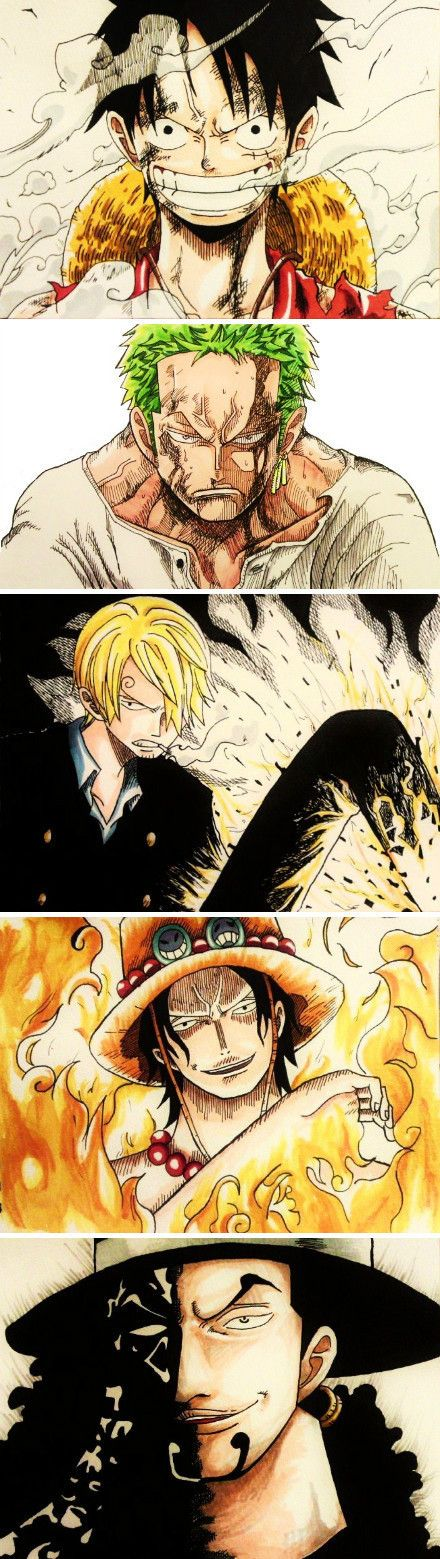 One Piece. Up to down: Luffy, Zoro, Sanji, Ace and Rob Lucci.