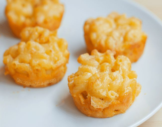 baked mac and cheese cups in a muffin tin