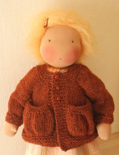 Knitting Pattern for Doll Cardigan Lena with Pockets by Mariengold. , via Ets...