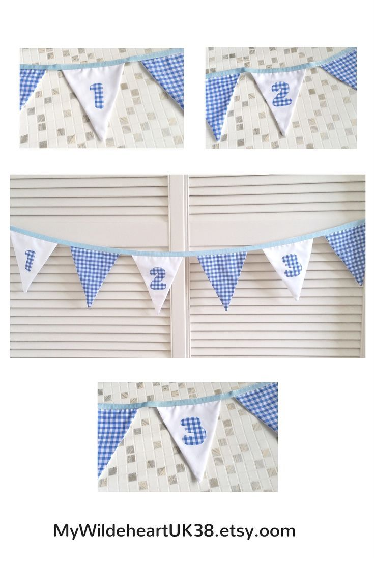 Blue and white baby boy bunting, nursery decor - great gift for  a baby shower, and for a new mom.  Click through to my shop or contact me for  your own custom order.  It can be personalised too!   #babyboy #nurserydecorideas #babybuntingnursery