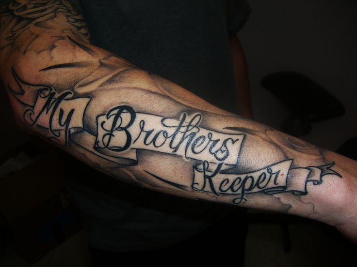 "Facebook Twitter Pinterest Gmail One of more popular tattoos that has links to the days Jesus walked the earth is the my brothers keeper tattoo. The original story goes back to when Cain killed his brother Abel and was questioned by God himself. God asked where Cain's brother was, to which he replied, ""Am I …"