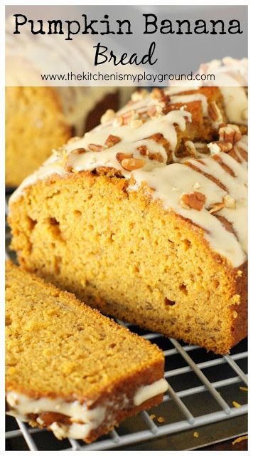 Pumpkin Banana Bread with Honey Glaze ~ combine two great quick bread flavors into one tender and tasty loaf! www.thekitchenismyplayground.com