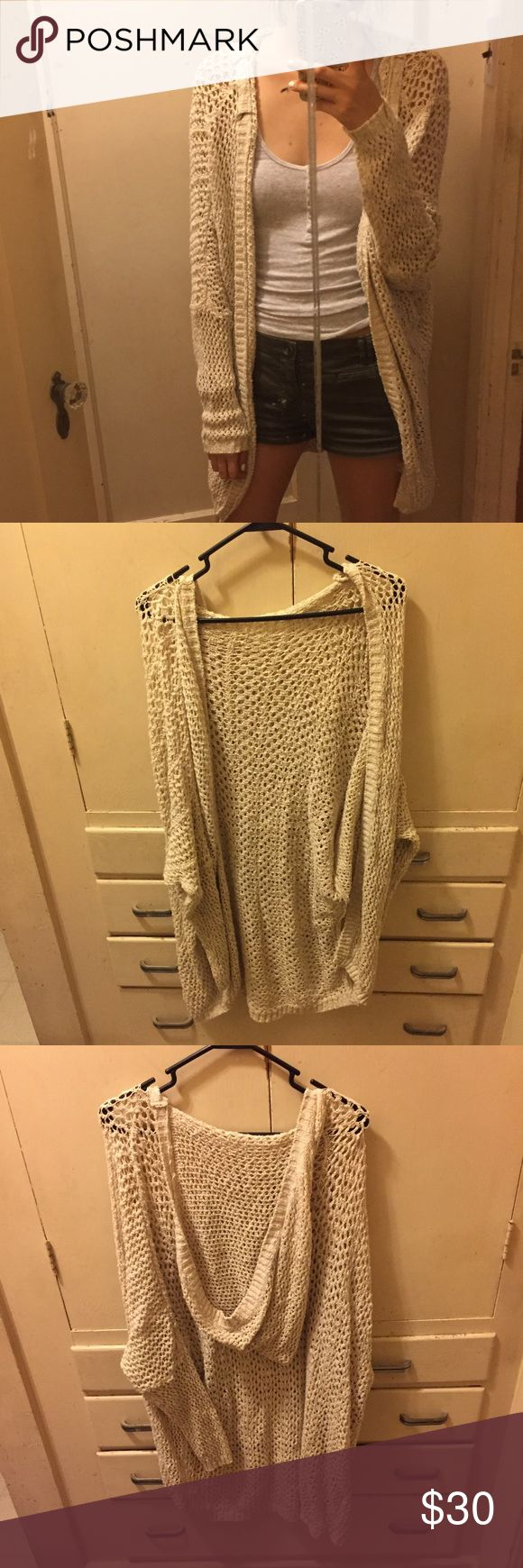 "Brandy Melville Cardigan Long crochet cotton/polyester cardigan. Worn a couple times. Good condition. Reference: I'm 5'8"" Brandy Melville Sweaters Cardigans"